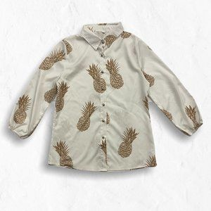 Pineapple on White Button Up Blouse